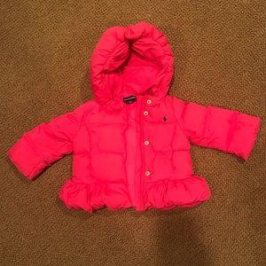 Hot Pink Ralph Lauren Down Puffer Coat - Size 12M